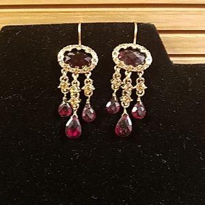 Vintage Monet deep red chandelier earrings GUC